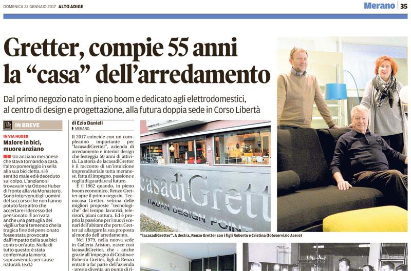"""Rassegna Stampa > Gretter, Compie 55 Anni La """"casa"""" Dell'arredamento"""